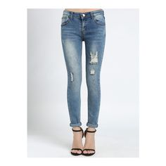 SheIn(sheinside) Blue Bleached Ripped Denim Pant ($21) ❤ liked on Polyvore featuring jeans, blue, distressed jeans, long skinny jeans, blue jeans, stretch skinny jeans and stretchy skinny jeans