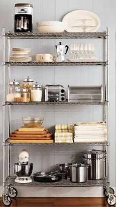 kitchen pantry shelving deserves some tender loving care when it comes to organization. Whether your space is big or small for kitchen pantry shelving Industrial Metal Shelving, Kitchen Rack, Kitchen Remodel, Kitchen, New Kitchen, Home Kitchens, Kitchen Shelves, Shelving, Kitchen Organization Pantry