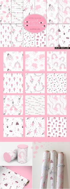 Pink Birthday girl pattern set by olga.angelloz on Adobe Illustrator Software, Doll Drawing, Selling Design, Pink Birthday, Seamless Background, Pink Candy, Surface Pattern, Pink Girl, Swatch