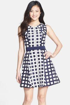 Jessica Simpson Jacquard Fit & Flare Dress