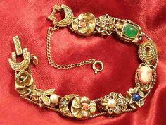 Gorgeous Vintage Victorian Revival Sliding Charm Bracelet