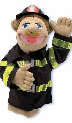 Melissa & Doug Firefighter Puppet with Detachable Wooden Rod (Puppets & Puppet Theaters, Animated Gestures, Inspires Creativity, Great Gift for Girls and Boys - Best for 5 Year Olds and Up) - Toys Puppets For Kids, Hand Puppets, Shopkins, Paw Patrol, Marvel Avengers, Melissa & Doug, Creative Play, Pretend Play, Kids Toys