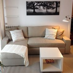 VILASUND / MARIEBY Sofa bed with chaise lounge, Dansbo beige