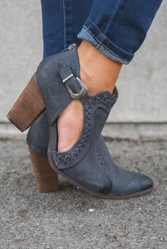 Jameson Cut Out Booties (Navy)