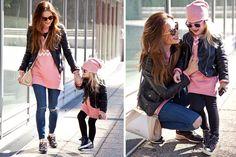čierna kožená budndička, mikinové oversize šata, rovnaké oblečenie pre mamu a dieťa, outfit do mesta