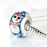 Originele 925 zilveren sneeuwpop murano glas bead pandora armband ketting authentieke kerst element