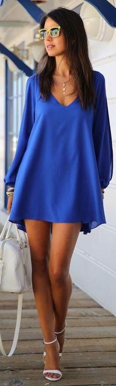 Summer Dress 017 casual Plus Size Women Clothing Long sleeve solid color Chiffon V Dress Vestidos Beach Dress Loose neck dress Blue Summer Dresses, Blue Dresses, Short Dresses, Mini Dresses, Beach Dresses, Dress Summer, Loose Dresses, Dress Beach, Dresses 2016