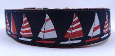 1 Sailboats adjustable dog collar ribbon on by WagSwagPetSupplies