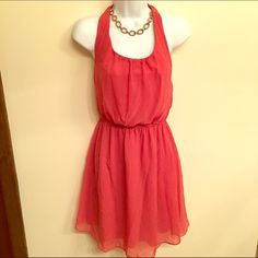 Coral dress halter style Coral dress with sheer overlay. Great back details. See pics! Dress only. Dresses Mini