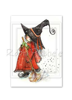 Broom and Little Witch , Cute aceo art print by RubysBrush on Etsy https://www.etsy.com/listing/201258103/broom-and-little-witch-cute-aceo-art