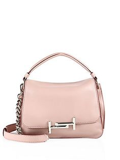 Tod's Double T Leather Messenger Bag - Pale Pink