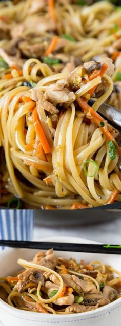 This Chicken Lo Mein from Dinners, Dishes, and Desserts is super easy and even better than take out! It's full of lots of veggies, chicken, and amazing flavor!