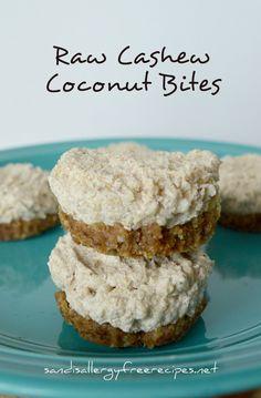 Raw Cashew Coconut Bites   #SandisAllergyFreeRecipes