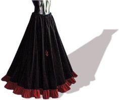 Mittelalterrock lang, schwarz/rot, Freesize Top Angebote | Lange Röcke