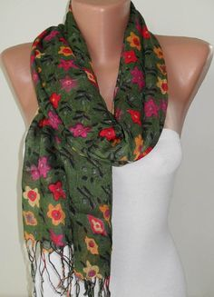 Green and Colorful Flowered Shawl / Scarf  Spring  by SwedishShop, $14.90