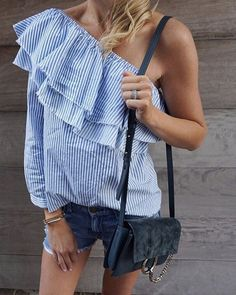 One Shoulder, Ruffles, and Pinstripes for Spring Trends! Get more inspo at www.HerStyledView.com