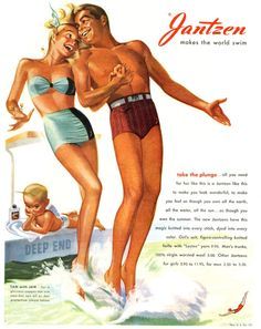 1950 ad from the cJantzen ompany, one of the oldest brands in the production of accessories for swimming and beach holidays. Jantzen company was founded back in 1910