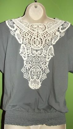 Medium Maurices Gray Crochet Lace Back Shirt Blouse