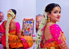 South Indian bride wearing mustard color printed saree, teamed with fuchsia pink silk border. Paired with silk wedding blouse with broad ...