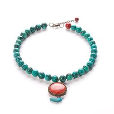 beaded pendant necklace turquoise and red by almafashionjewelry, $99.00