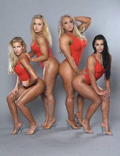Melina Keltaniemi (vas.), Milla Kelahaara ja Jaana Malytcheva ovat Suomen bikini fitness -huippuja. Minna Pajulahti (toinen oik.) on IFBB-ammattilainen, joka kisaa Physique-sarjassa. Lisäksi Pajulahti kilpailee voimanostossa.