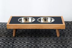 This modern raised pet feeder is an easy afternoon DIY project any pup parent can make!