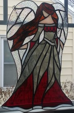 Large Angel by Stained Glass Quilt, Stained Glass Angel, Making Stained Glass, Stained Glass Christmas, Stained Glass Projects, Stained Glass Patterns, Stained Glass Windows, Mosaic Art, Mosaic Glass