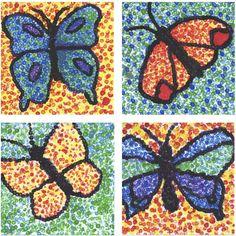 Butterfly art project for grade. the rolling artroom: butterflies & pointillism grade) Spring Art Projects, School Art Projects, Spring Crafts, Jr Art, 4th Grade Art, Ecole Art, Art Lessons Elementary, Collaborative Art, Butterfly Art