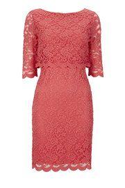 Wallis Petite Pink Overlay Lace Dress