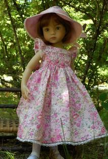 Smocked dresses for showpiece dolls, such as Dianna Effner's 13 inch Little Darlings, Helen Kish's 12 to 16 inch collections, and other designer and collectible dolls.
