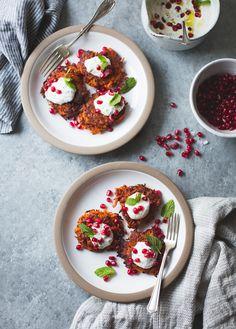 Harissa Sweet Potato Latkes with Spiced Yogurt, Mint and Pomegranate {gluten-free}