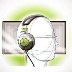 JBL Headphones concept sketch in Autodesk Sketchbook Pro by Industrial Designer, Nick Chubb