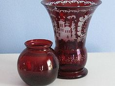 Vintage Cranberry Colored Glass Vases by vintagepaige #EasyPin