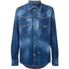 Dsquared2 studded distressed Western shirt featuring polyvore men's fashion men's clothing men's shirts men's casual shirts blue mens long sleeve casual shirts mens western shirts mens military style shirt mens curved hem t shirt mens destroyed t shirt