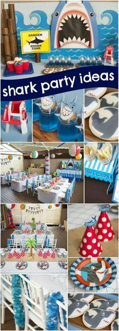 Boy's Shark Themed Beach Bash Birthday Party via @spaceshipslb