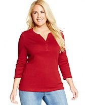 Karen Scott Plus Size Three-Quarter-Sleeve Henley Top, Only at Macy's