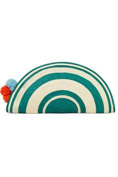 Sophie Anderson - Alicia Pompom-embellished Woven Raffia Clutch - Teal - one size Teal Handbag, Beige Purses, Sophie Anderson, Eco Friendly Fashion, Little Bag, Bag Sale, Purses And Bags, Envelopes