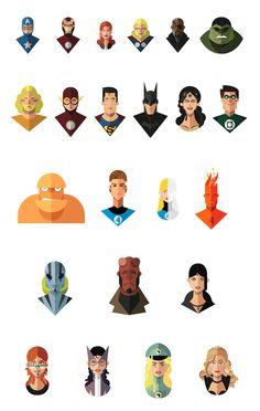 Los superhéroes ilustrados con diseño plano de Jeffrey Rau   TodoGraphicDesign