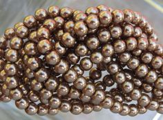 4mm Antique Gold Glass Pearl Beads 16 Inch by beadsandbabble