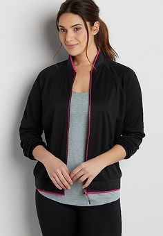 bomber jacket with pink trim   maurices
