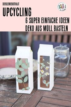 Upcycling ideas - tinker with garbage 6 super simple instructions for beautiful decorative items made of tetrapak, cardboard, egg box, screw caps, packaging film and wood. Crafts with children in the Upcycled Crafts, Diy Home Crafts, Decor Crafts, Crafts For Kids, Summer Crafts, Wood Crafts, Kids Diy, Felt Crafts, Home Decor