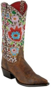 THESE ARE FAB! Anderson Bean Macie Bean Ladies Distressed Brown Cheetah Floral Snip Toe Boots.