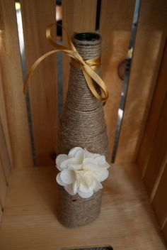 Twine wine bottle with flower. vase. decoration. by chramberries, $12.50