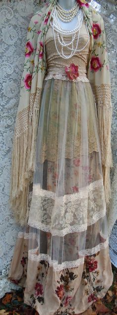 Deposit for custom Beige tulle dress dress handmade by vintage opulence on Etsy The top is a soft tea stained lace with lining, sleeveless with