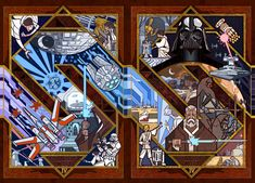 """"""" Star Wars IV: New Hope """" by Jian Guo [ Previously: Illustration: Stained Glass Force Awakens ] Jian Guo , one of my all-time . Star Wars Decor, Star Wars Art, Pokemon, Episode Iv, Pop Culture Art, The Empire Strikes Back, Fan Art, Cosplay, Star Wars Episodes"""