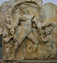 Detail of the Sebasteion of Aphrodisias (Turkey): relief of Emperor Claudius as master of land and sea (1st century CE)