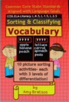 Common Core ELA Language Categorizing Vocabulary Cut & Pas