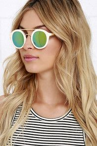 Expect plenty of compliments, oohs and awes at your Oodles Ivory Mirrored Sunglasses! Ivory frames surround round, green mirrored lenses (joined by a shiny gold bridge). UV 400. #CuteDresses #TrendyTops, #FashionShoes #JuniorsClothing