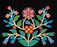 Detail of breechcloth or dance apron Ojibwe dance apron (breechcloth), Velvet, glass beads. Gift of Miss Donna Held. Southwest Museum of the American Indian Collection, Autry National Center; Indian Beadwork, Native Beadwork, Native American Beadwork, Art Floral, Beaded Moccasins, Beadwork Designs, Native American Design, Nativity Crafts, Beading Patterns