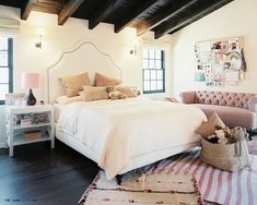 Girl's Bohemian Traditional Bedroom in pink and white